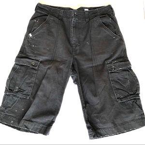 Men's Rocawear oversized black denim shorts